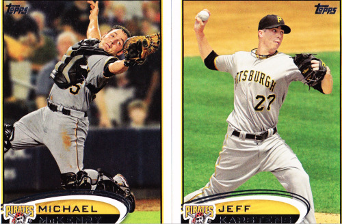 "Baseball Cards of the Week:  Quotes you're sure to hear around PNC Park: ""Sure, Roberto Clemente was good, but he was no Mike McKenry."" ""Some would say the 2011 Pirates were great. I would say they were the greatest."" ""Jeff Karstens could very well become the Pedro Martinez of the 2010s.""  ""Who's the best battery in history? Dave Stieb and Pat Borders or Karstens and McKenry?""  ""There are two men with whom I'd step out of my marriage for. Mike McKenry is one. Ryan Gosling is the other. What? No, of course I wouldn't sleep with Jeff Karstens. Great changeup though.""  (Huge thanks to my next door neighbor @keeganitreal for the amazing gift of these cards.)"