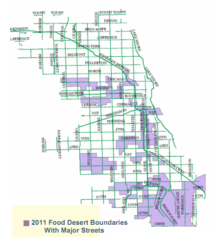 2011 Food Desert boundaries on major streets.