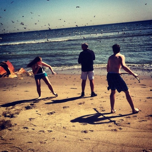 some savages on the beach attacking my father.  (Taken with instagram)