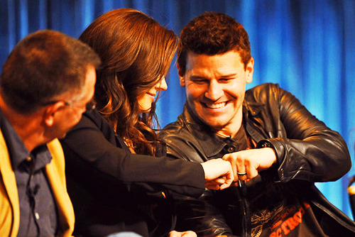 soonish:    Emily Deschanel and David Boreanaz during the Bones Panel at PaleyFest, March 8