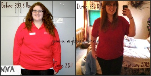 jennalee-weightloss:  Before and During: Work Shirt Edition (click for better quality) The photo on the left was taken at my highest weight back in June of 2011 and the one on the right was taken just a couple of weeks ago in February of 2012. Since then I have lost almost 70 pounds, drastically altered my mental health and body image, and started to love my body. I'm no longer the depressed, self-loathing, lifeless girl I was back then. I have grown and changed into an energetic, self-loving, confident woman. And I could not have asked for more of an amazing transformation. As of now I'm only a little over halfway to my final goal weight, and I'm looking forward to the second half of this journey. Thanks to everyone that has followed me and supported me along the way. You guys truly are the best <3