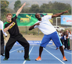 african-eyes:  Prince Harry | Usain Bolt
