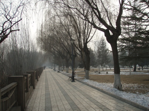 Winter scene near the river in Lanzhou, China