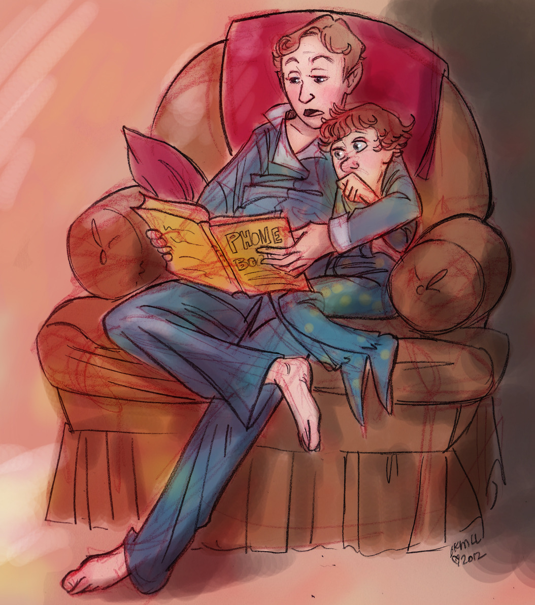 geniusbee:  livielightyear:  Here's a bedtime story for you: Mycroft is reading Sherlock the Phone book. He get's Sherlock to pick a name. Mycroft will tell Sherlock a story about them, based on what he can learn from their name, members of their household, and where they live. He thinks he's just making it up, but one day, Sherlock decides to call one of the people Mycroft told him about. Mycroft was right down to every detail.  And that's when both boys got serious about Deducing.  The end.  Mycroft is supposed to be around 14, while Sherlock around 7. How I drew their ages don't quite match up… but that's the idea. I imagine Mycroft is trying to get Sherlock to stop sucking his thumb, but he gives up after a while.   God I love this.