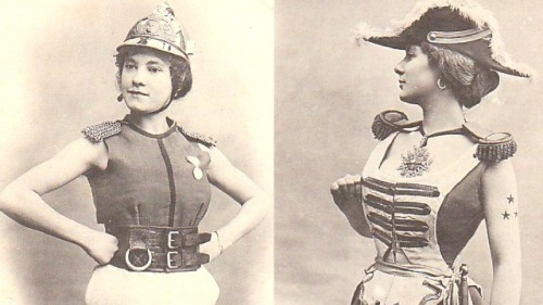 """The Women of the Future"" according to 1902 French Trading Cards In 1902, a French trading card manufacturer released this curious batch of playing cards depicting women and their futuristic careers as soldiers, lawyers, journalists, and cigarette-chomping students. But because these cards were designed to titillate, many of these outfits aren't entirely practical — note the firefighter and general's lack of sleeves above. In fact, much of the military regalia pictured wouldn't be handy whatsoever in the battlefield."