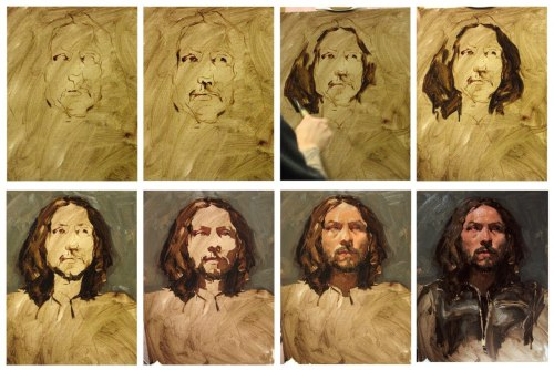Sean Cheetham's method during painting. He's a thrilling portrait artist.
