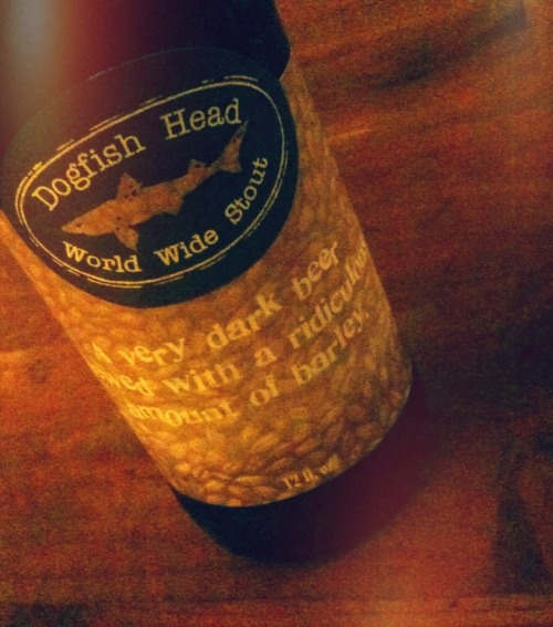 Dogfish Head World Wide Stout www.dogfish.com Bee Arthur: The top-shelf port of high-end beers. This one's a sipper; sip, sip, sip. Blooming mouthfeel; a slow burn. Not exactly sour, but a powerful traveling twang that lingers behind and then vanishes. Not for the faint of heart. Socrabees: INTENSE. Serve for/as dessert, maybe with strawberries, or cocoa nibs. Give as a gift, like a pricey bottle of wine, with a couple of snifters (the preferred glass). Sip the damn thing, seriously. It's 18% and will rock your bobby socks right off those hideous man-feet.