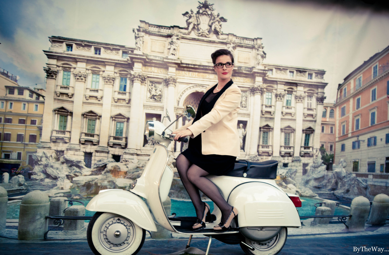 Fake Trevi Fountain and genuine vintage Vespa for wedding pictures - Rome, Italy