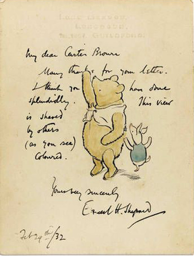 "maudnewton:  uncertaintimes:  Original Winnie-The-Pooh drawing sells for $40,954  Based purely on sight, I have so much nostalgic affection for that silly old bear. Not so his creator: the ""biggest regret in EH Shepard's life was agreeing to illustrate Winnie the Pooh for AA Milne, as it resulted in the bulk of his work, even during his lifetime, being completely overshadowed.""   Owl owns. Just sayin'."