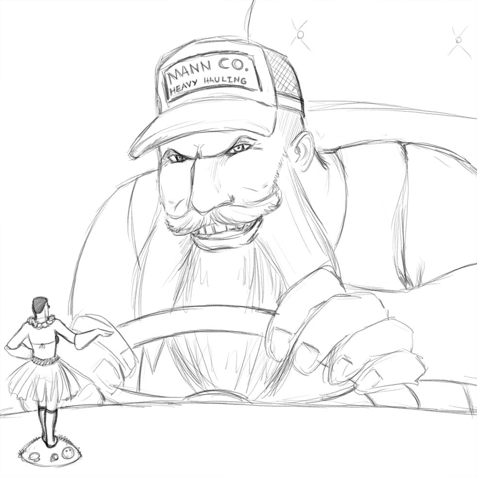 So @charnanigans asked me to draw her Trucker Heavy for an in-game spray in Livestream tonight. Trucker Heavy happened because her Heavy has the All-father equipped with the Mann Co. hat, which makes him look disturbingly like a trucker. And, well, now he has a hula girl. :D Finished the sketch, here it is. Will refine and color later! Thanks for coming by, Char and Maelgwyn!