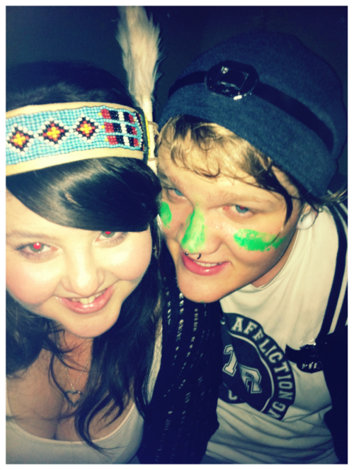 Cowboys and Indians party at Hot Damn! with my boy :3 I had a motherfucking Indian headdress on!!