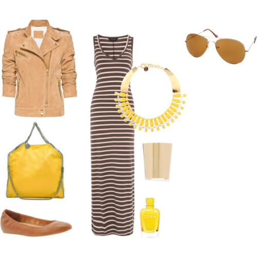 Soleil by sheenatschang featuring a short jacketMango short jacket, £100ALDO low heel shoes, $70Stella McCartney tote hand bag, £680Vionnet chain jewelry, $749Yves Saint Laurent cuff jewelry, £460Aviator shades, $28Pippa nail polish, $8