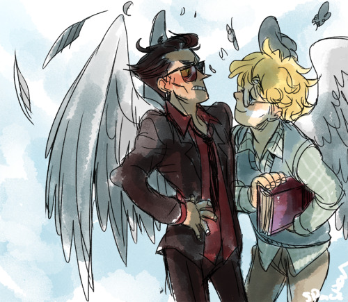 spacedrunk:  he's appalled by your messy wings dear aziraphale okay I'll go to bed