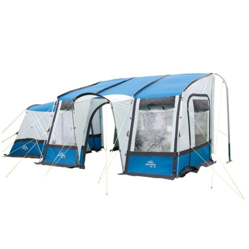 The spacious Sunncamp Mira 390 Caravan Awning is now available at Leisure Outlet.Stylish and with fantastic headroom, the Mira comes with a zip-in annexe and two-berth inner tent as standard, providing even more space. Made of 150D Oxford polyester fabric, the Mira has a covered porch, four windows and comes with a draught skirt. This awning is available in three colours: Blue/Grey, Grape/Grey and Green/Grey.The Sunncamp Mira 390 Caravan Awning is available for £319.00 - 23% off the recommended retail price.
