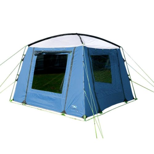 Available now at Leisure Outlet, the Sunncamp Day Room.Perfect for outdoor cooking, protection from the sun, additional living space or events, the Day Room has four roll-up doors and two curtained windows, giving you the perfect balance between privacy and openness to best suit your needs. And the Day Room matches Sunncamp's tent and awning ranges with its range of colours: Blue, Charcoal/Grey, Espresso/Mushroom and Green/Grey.The Sunncamp Day Room is available now for £119.99 - 20% off the recommended retail price.