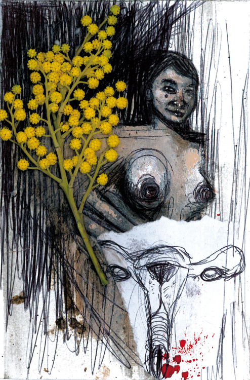 Amanda Carrupt - March 8 ballpoint pen, ink, watercolr, collage and Mimosa on paper  15x10 cm