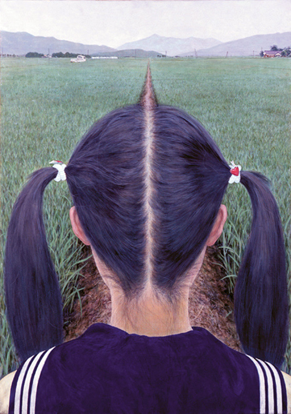 death-by-lulz:  Makoto Aida, A Path Between Rice Fields (1991)  This post has been featured on a 1000notes.com blog.
