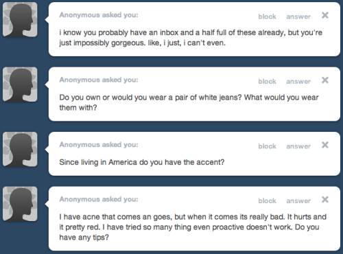 - Aw thanks anon :) - I do not own a pair of white jeans and i don't think i ever would since i am messy and accident prone. Look up stores online that sell white jeans and see what they pair it with in the photos. I'd probably wear a tight top since white usually makes you look bigger, at least a tight top will show your real size :) - I have an English accent but certain words might sound a bit American. - Maybe you are trying too many products at once. I would see a dermatologist if you can. I think DDF products are good for problem skin, see if you can get a sample kit online or in a sephora store.
