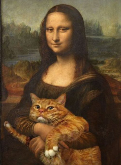 Mona Lisa's Cat   She was going to smile, but then she realized what her life had come to.