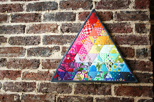 rainbow triangle mini quilt (by InspiredbyFelix)