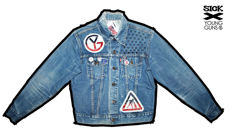 this one is my :) thesickkids:  SICK X YOUNG GUNS Unisex distressed denim jacket (small) @younggunsuk