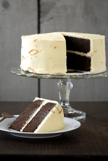 gastrogirl:  chocolate cake with kumquat marmalade frosting.
