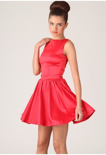 Miss Guided red panelled skater shift dress
