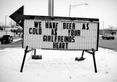 Now that's some COLD beer! via Funny Signs