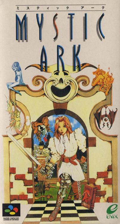 RS - great cover. negative space is sexy. obscurevideogames:  Mystic Ark (Enix - SNES - 1995) - Japanese-only RPG, but an English fan translation patch is available