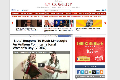 Our Rush Limbaugh Slut video made it onto the Huffington Post yesterday! Now we're close to 25,000 hits on YouTube and they keep on coming!! Help us go viral by passing our video around to all you know. SLUTS UNITE! http://youtu.be/fZK75pXLlbY