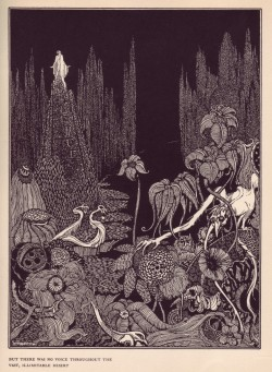 mrscaravaggio:  Harry Clarke - But There Was No Voice Throughout the Vast, Illimitable Desert, from illustrations for Edgar Allan Poe, 1922