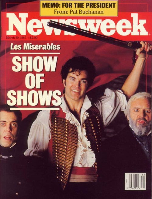 "25th Anniversary of 'Les Misérables' On Broadway  ""When we started to rehearse the American cast,"" says Caird, ""we did a very interesting exercise. We got the company together, sat in a big circle and said, 'What we want you all to do is tell us where you all come from, where your parents came from, when they came to America and why."" And we found that in most of the cases their ancestors had come to America from Europe — France, Germany, Russia, Poland — at precisely the time of 'Les Miserables' for precisely the reasons of injustice, poverty and degradation that Hugo is describing. In many senses the American cast of 'Les Miserables' are more truly the children of Victor Hugo than the English cast. And by inference the people coming to see the show in New York will be closer to the events.""  Newsweek March 30, 1987"