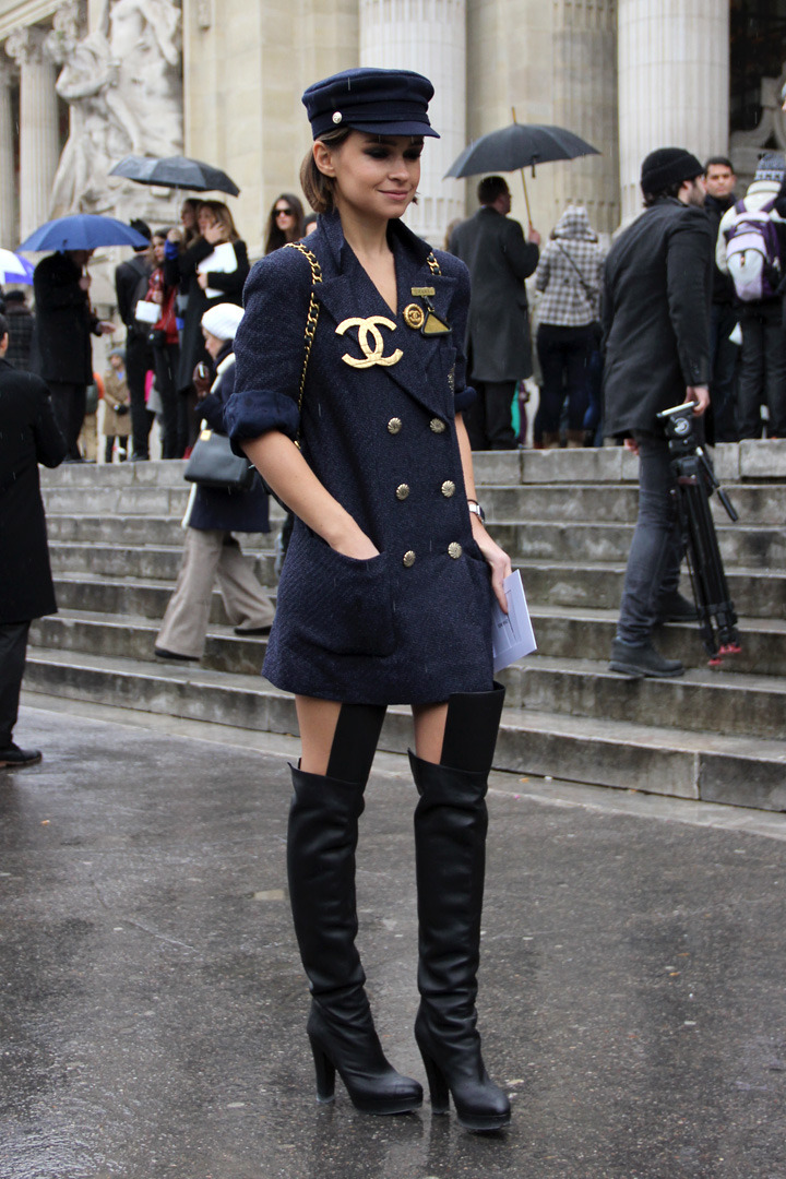 Paris Street Shot Chanel Mania! Miroslava Duma at the Chanel Fall12 show