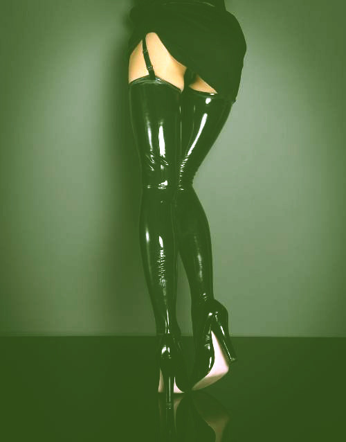 Yummy, smooth, skin tight, and extremely sexy…Staring at that pair of latex thigh highs really encourages me to own more latex, but what does it encourage you to do? Got a latex fetish? or are you a rubberist dying to smell warm rubber against My skin? If either applies to you, I would love to have a discussion.
