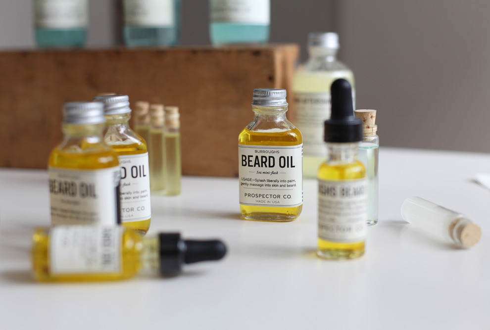 Beard Care: Burroughs Beard Oil. I have never used it, but I dig the packaging.