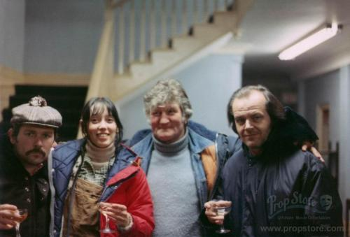 the-overlook-hotel:  Never-before-published photo of actors Shelley Duvall and Jack Nicholson sharing a toast with crew members on the Staff Wing set of The Shining. (photo courtesy Prop Store)