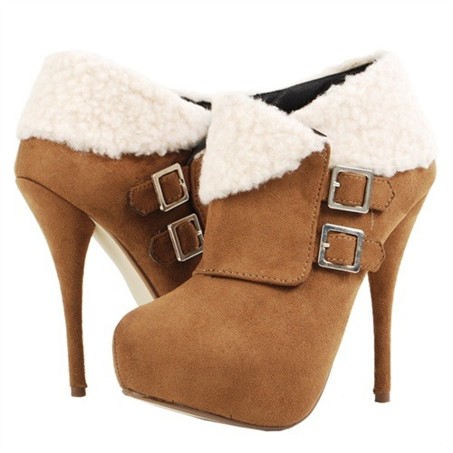 Brown Wool Cuff Ankle Boots
