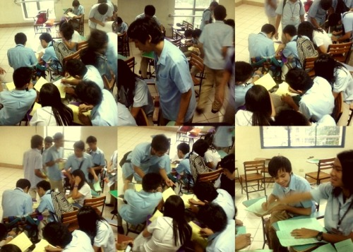 "Teamwork, eh? They're my blockmates and I love them the way they are. Ha ha. Not fond of this shit? You're missing out on half of the fun you'll ever get from being a student. Sometimes it's not even about passing anymore, sometimes it's just about how awesome the teamwork is.  It's better to cheat, than to repeat. Oops, not on exams, though. However, home works/Projects would still be pretty much explainable as shit. HUH Anyway, haven't been quite active in Tumblr for a while now. Been usually getting the ""We're sorry"" crap every time I log in which 0 percent motivates me to continue and then I'd forgot about logging in again until forever. Man, I think… *involuntarily yawns* I think it's time for me sleep already. My eyes… Bye."