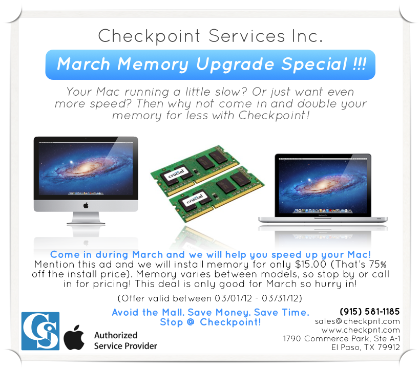 March Memory Upgrade Special!