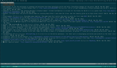 A plugin that overloads Vim to be a Twitter client, via One Thing Well. The commentary alludes to how this really isn't an example of software that does one thing well, but then why is it listed?  onethingwell:     TwitVim is a Vim plugin that allows you to post to Twitter and view Twitter timelines.