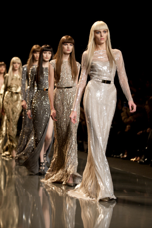 milkstudios:  All that glitters is gold.  The final walk at Elie Saab's Fall/Winter 2012 Paris Fashion Week runway presentation. See more photos on Milk Made.