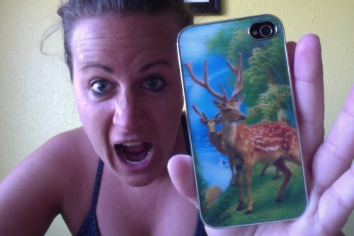 This is how excited I am about my new holographic iPhone case. There are deer standing in front of a majestic waterfall and forest landscape and it is the best thing ever and you can be jealous of me and try to find one just as amazing.