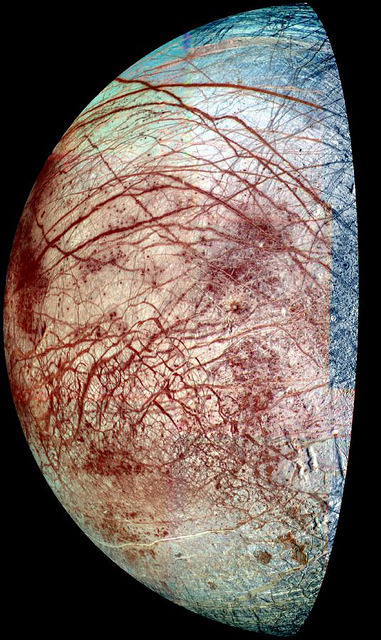 "spacettf:  Europa's Hidden Ice Chemistry by NASA Goddard Photo and Video on Flickr. Via Flickr: NASA image release October 4, 2010 The icy surface of Europa is shown strewn with cracks, ridges and ""chaotic terrain,"" where the surface has been disrupted and ice blocks have moved around. New laboratory experiments show that water ice and frozen sulfur dioxide react even at the frigid temperatures of Europa. Because the reaction occurs without the aid of radiation, it could take place throughout the moon's thick ice layer—an outcome that would revamp current thinking about the chemistry and geology of this moon and perhaps others.  To read more go to: www.nasa.gov/topics/solarsystem/features/europa-ice.html Credit: NASA/JPL/University of Arizona"