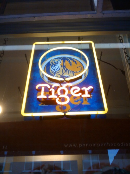 Photography Of Dres Mera-Neon Tiger sign @ Phnom Penh Noodle House in Chinatown-ID