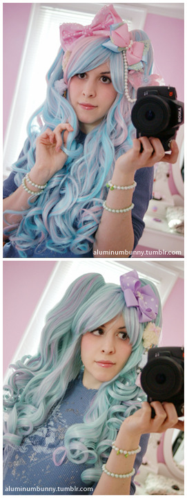 The two new wigs I ordered from GLW arrived today and I'm really pleased with the look and feel of both. I wanted to buy a few more colorful wigs. The first wig is the Blended Pink/Blue. I've wanted this wig for a really long time and finally it came back in stock.  The second wig is the Blended Mint/Lavender and my husband suggest I get this one to have more color options. I have to trim the bangs because they aren't quite long enough to be swept to the side and I really don't like the way they look now, so I'll just cut them into a blunt style.