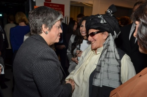 cheatsheet:   Backstage at Women in the World, Afghan elder Bibi Hokmina asked U.S. Department of Homeland Security Secretary Janet Napolitano to please stop the night raids in her country. U.S. and Afghan forces frequently drop from helicopters to search the homes of suspected Taliban fighters, a practice that's tremendously unpopular in Afghanistan. Hokmina told Napolitano that the raids violate women and children, and Napolitano replied that she would take Hokmina's message all the way to the top. Admiral William McRaven estimates 2,800 raids were carried out last year.  Backstage diplomacy.