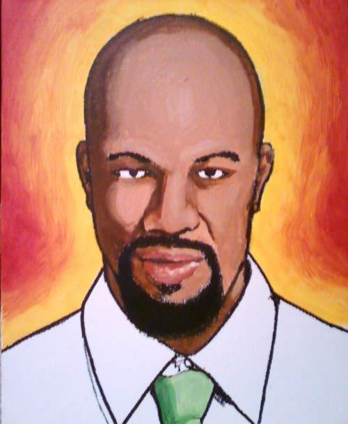 Work In Progress Painting of Rapper/Actor Common