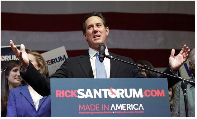 "Bag's Take-Away: Did you know Santorum was ""Made in America""? Does he mean, as opposed to ""Made in Kenya?""  via The Charlotte Observer (photo credit: Eric Gay/AP caption:  Republican presidential candidate, former Pennsylvania Sen. Rick Santorum speaks at his election night rally at Steubenville High School, Tuesday, March 6, 2012, in Steubenville, Ohio.) Visit BagNewsNotes: Today's Media Images Analyzed ————— Topping LIFE.com's 2011 list of Best Photo Blogs, follow us at: BagNewsNotes; BAG Twitter; BAG Facebook; Bag by Email."