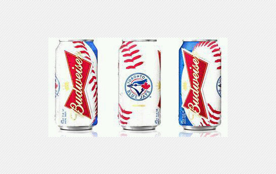 Can You Believe It? Have a look at the new Budweiser Toronto Blue Jays cans poppin' up around a bar near you.