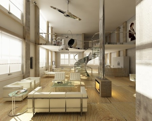 Living Room with a high ceiling and modern stairs (via Pinterest)